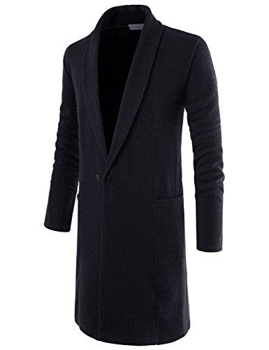 NEARKIN NKNKTNC803 Mens Slim Cut Look Knitwear Shawl Collar Long Cardigan Sweater Black US L(Tag Size L)