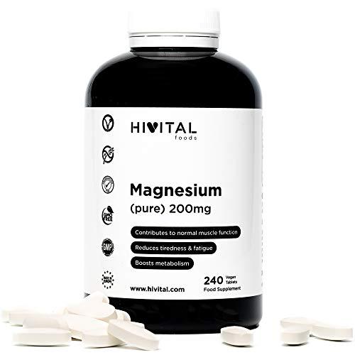 Magnesium 200 mg (gewonnen aus der MagnesiumCitrat) | 240 Vegane Tabletten (Vorrat für 8 Monate) | die Muskelfunktion und das Nervensystem verbessert, Müdigkeit reduziert und den Stoffwechsel anregt