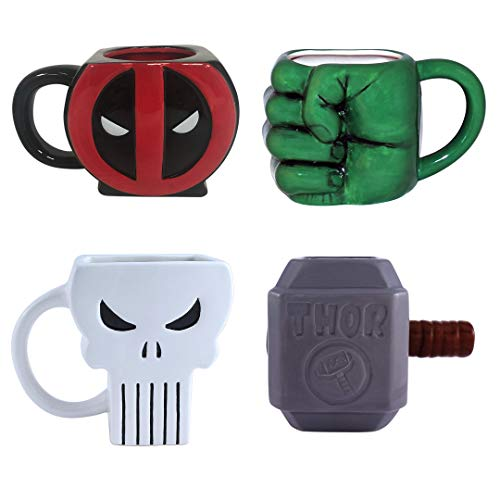 Marvel Mug Hulk, Deadpool, Punisher and Thor 4 Piece Set