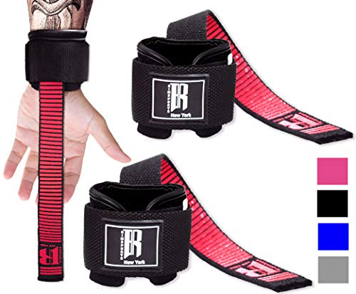 Weight Lifting Straps with Wrist Support - Best Wrist Straps for Weightlifting - Superior Deadlift Straps and Workout Wrist Wraps for Deadlifting in Gym - Ideal Lift Straps for Powerlifting(Red Pair)