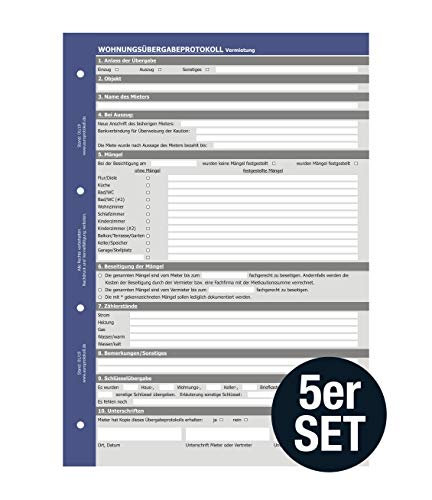 5 x Wohnungsübergabeprotokoll Vermietung, Übergabeprotokoll, selbstdurchschreibend (SD-Satz, 3-fach)