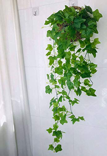 Simulation Ivy,Simulation Green Plants Beautiful Hanging Plant Floral Suitable For Venue Layout Interior And Exterior Decoration Wedding Scene Etc.-Straw small wall hanging+1Ivy