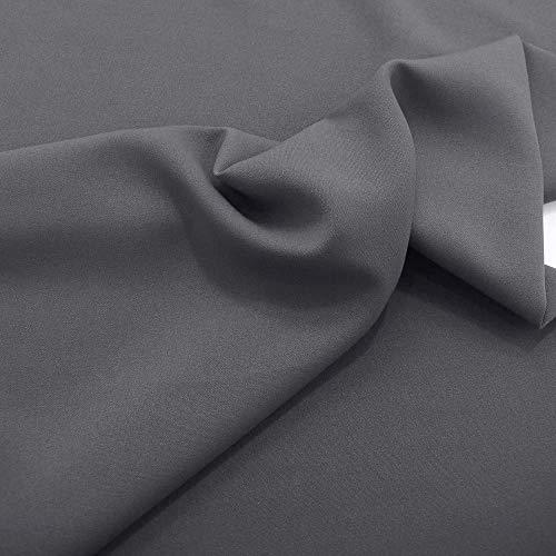 TOLKO Modestoff   Dekostoff universal Stoff zum Nähen Dekorieren   Blickdicht, knitterarm   150cm breit Meterware Bekleidungsstoffe Dekostoffe Vorhangstoffe Nähstoffe Basteln Patchwork (Dunkel Grau)