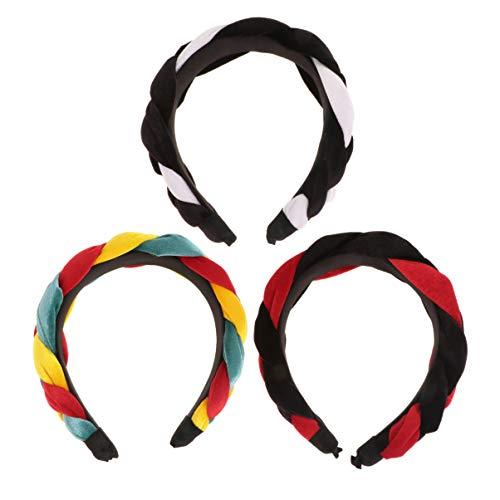Minkissy 3 stuks hoofdband voor dames, gedraaide haarbanden, boho, hoofdbanden, brede band, haarband, hoofdtooi voor vrouwen en meisjes