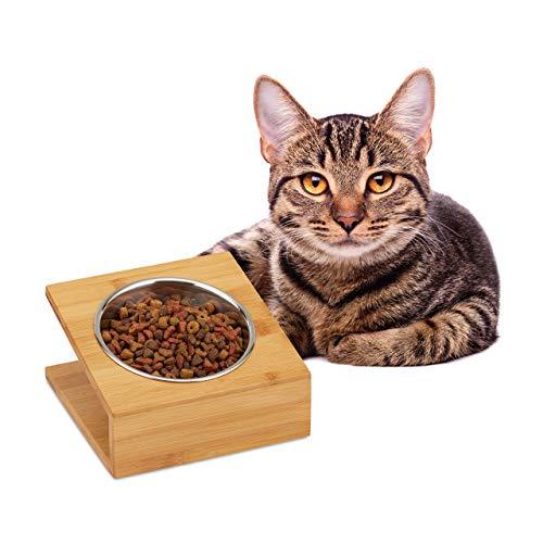 Relaxdays Napfstation, Katzen & kleine Hunde, für Wasser und Futter, geneigter Futternapf Edelstahl, HBT 10x18x18, Natur, 1 Napf, 1 Stück