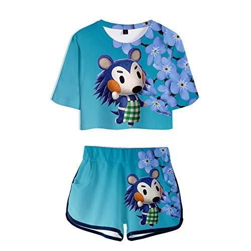 Frauen/Teenager-Mädchen Animal Crossing 3D-Gedruckter Sportanzug, Kurzarm-T-Shirt-Shorts-Set, Sommer Casual Zweiteiliges Cosplay-Kostüm