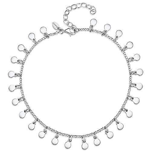 Amberta Tobillera de Plata de Primera Ley 925 Ajustable para Mujer con Monedas: Longitud 22 cm hasta 26 cm