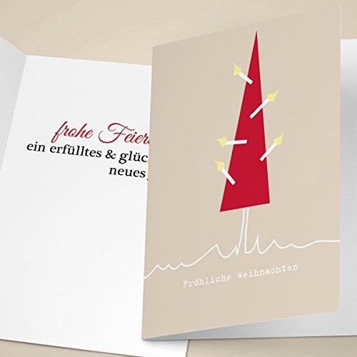"""20er Set Business Weihnachtskarten mit Weihnachtsbaum, innen blanko/weiá als gesch""""ftliche Neujahrskarte, Firmen Weihnachtskarte fr Partner, Mitarbeiter: Frohe Weihnachten"""