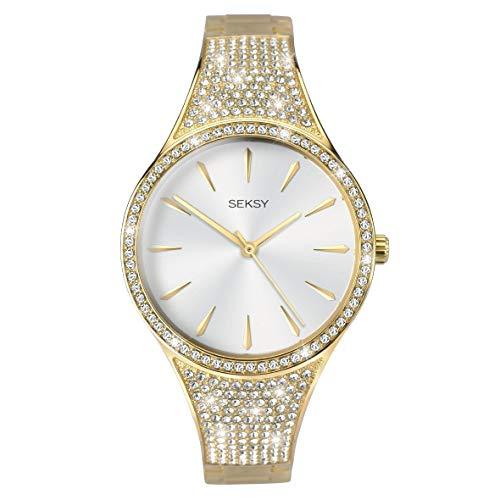 Seksy Reloj de cuarzo para mujer de 0,00 mm, esfera analógica blanca y metal dorado 2715