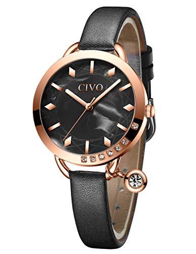 CIVO Relojes Mujer Minimalista Ultra Delgado Reloj de Pulsera de Cuero Resistente al Agua Negro Elegante Vestido Informal de Negocios Relojes de Cuarzo Analógicos para Mujeres Damas Niñas