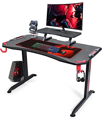GTPLAYER Ergonomic Gaming Desk 120cm Computer Desk With Adjustable Monitor Stand Shelf Large T-Shape Frame Movable Home Office Desk (BLACK)