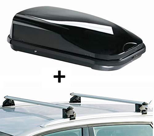 Dachbox VDPFL320 320Ltr schwarz glänzend + Dachträger CRV107A kompatibel mit Audi A3 Sportback (8P) (5 Türer) 2004-2013