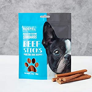 Koefel Beef Stick Jerky Treats for Dogs – Soft, Delicious and Tender Snacks Made with Real Steak. High Protein Beef Chews Treats for Small, Medium and Large Sized Dogs-3.5oz.