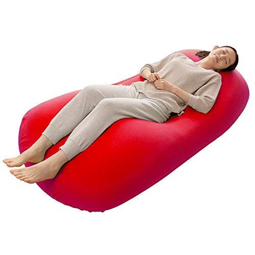 アイリスプラザ ビーズクッション もちもち からだにフィット 人をダメにする 幸せにするクッション 日本製 ソファ お昼寝 カバー洗える 清潔 MAX レッド 幅約75×高さ約160