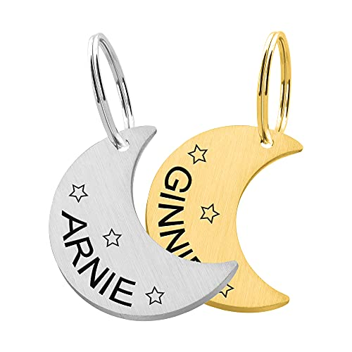 Custom Moon Pet Tag ID, Personalized Stainless Steel Cute Shiny Bling Stars Collar Tag Lost Boy & Girl Dogs Puppies Cats & Ring Engraved SOS Customizable with Owner Information Name, Phone, Address
