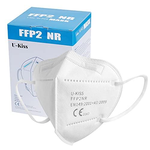 U-Kiss 50 Stück FFP2 Maske, FFP2 Atemschutzmaske 5-Lagen Staubschutzmasken, BFE ≥ 94{dc3587029c712939d4b0bfa25c4c6e776db54fc65bf92d02542a43865970945f}, CE Stelle zertifiziert Mundschutzmaske(EN149: 2001+ A1: 2009)