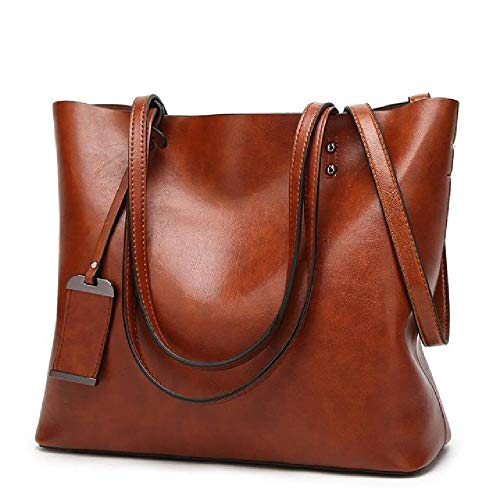 Waxing Bucket Bag Simple Double Strap Handbag Shoulder Bags for Women All-Purpose Shopping Tote Sac