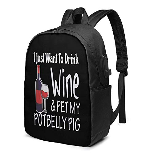 AOOEDM Drink Wine Pet My Potbelly Pig Laptop Backpack Water Resistant College School Bag with USB Charging Port