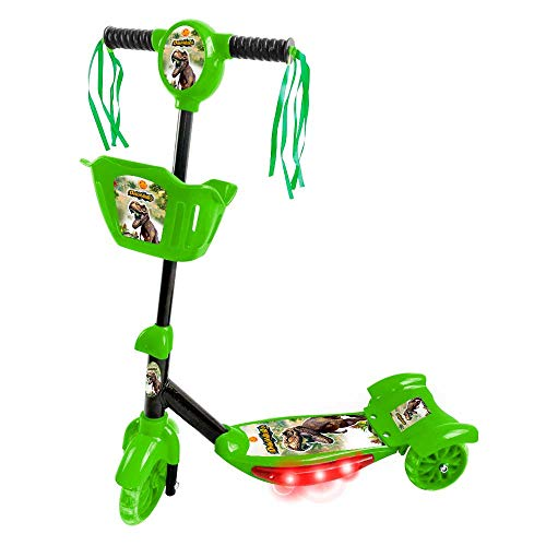 Patinete Dinossauro, DM Toys, Verde, Com Luz, Som e Cesta