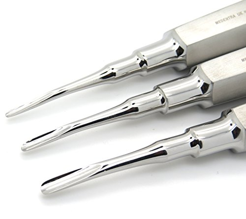 Dental Elevator Surgical Root Instruments Curved Tip 2mm, 3mm, 4mm Set of 3