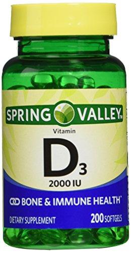 Spring Valley twin pack vitamin d3 2000I.U. Immune Health/Bone Health, 200 so...