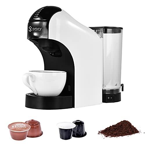 Cafetera de cápsulas, Cafetera individual multifuncional 3 en 1 compatible con cápsulas Nespresso y Dolce Gusto y café molido, Depósito de agua extraíble de 0,8 L,apta para el hogar y la oficina