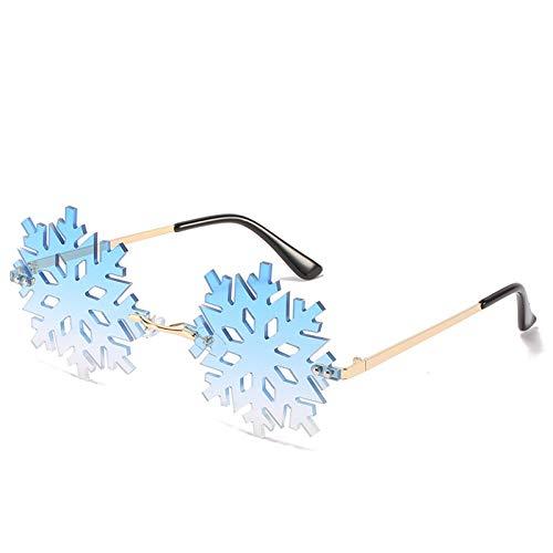 ZLC PERSONALIDAD Forma de copo de nieve sin marco Gafas de sol Gafas de sol divertidas para la fiesta de Navidad