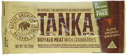 Bison Pemmican Meat Bars with Buffalo & Cranberries by Tanka, Gluten Free, Beef Jerky Alternative, Slow Smoked Original, 1 Oz, Pack of 12