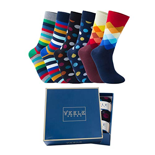 Vkele Bunte Socken (Kariert & Streifen & Punkte) 6 Paar 43-46 Ideal als Geschenk