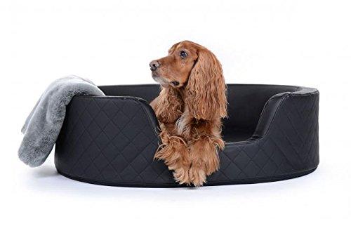 PadsForAll Hundebett King Henry, Bezug aus Kunstleder, in schwarz Hundekörbchen Hundekorb mit hohem Rand