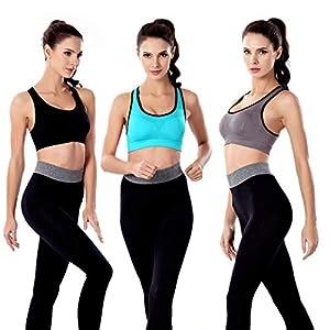 3 Pack Women Racerback Sports Bras High Impact Workout Yoga Gym Activewear Fitness Bra (Black+Grey+Blue, L(Fit for 38A 40A 38B 36C 34D 36D))