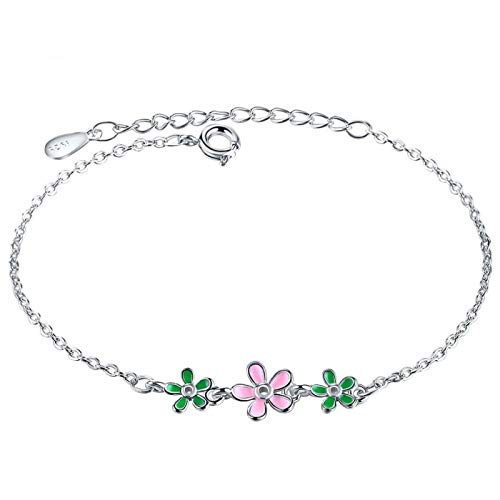 ZWXDMY 925 Sterling Silver Bracelet,Drip Glaze Flowers Daisy Leaves Sweet Fresh Charm Bracelets Trendy Resizable Jewelry Bangle For Gift Girls Lady Women Party Moden Wedding Gifts Bijou