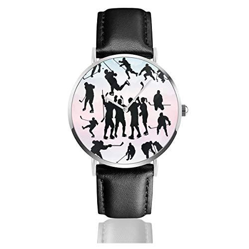 Armbanduhr für Eishockey, Lederarmband, klassisch, Edelstahl, Quarz, Business