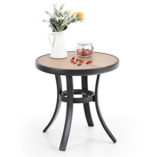 PHI VILLA 19' Small Round Side Table, Outdoor Coffee Bistro Table with Metal Frame Wooden Like Surface, Heavy Duty Patio End Table for Indoor/Outdoor Use