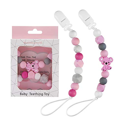 Silicone Pacifier Clip,YOUYOUTE 2 Pack Pink Pacifier Holders Baby Girl Teething Beads Binky Clip for Teething Toy, Teethers, Soothie, Teething Toy, Baby Shower Gift