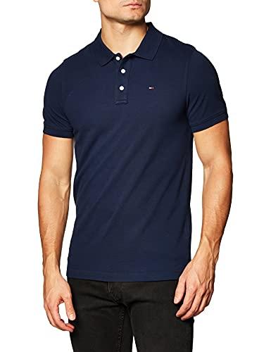 Tommy Jeans Piqué P, Camiseta Polo con Cierre de 3 Botones Hombre, Azul (Black Iris), XL