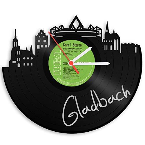 GRAVURZEILE Wanduhr aus einer echten Schallplatte - Wähle eine Stadt - 30cm Groß lautloses Uhrwerk - Schallplattenuhr, perfekte Geschenkidee Skyline Gladbach