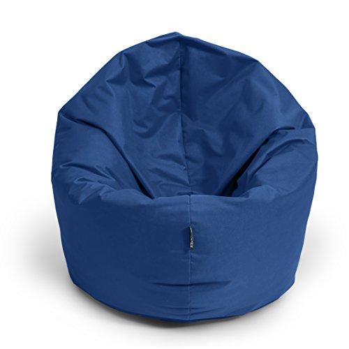 BuBiBag Sitzsack 2-in-1 Funktionen mit Füllung Sitzkissen Bodenkissen Kissen Sessel BeanBag (100 cm Durchmesser, dunkelblau/Marine)