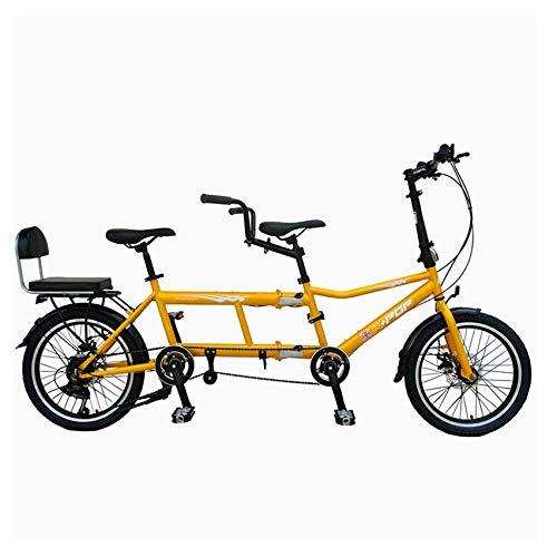 DREI Leute Zusammenklappbar City Tandem Fahrrad Doppeltes Falten Paar Doppeltes Reiten Sport Tragbar Travel Bicycle,Gelb