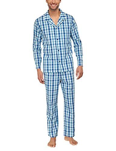 Seidensticker Herren Pyjama lang 151414 Zweiteiliger Schlafanzug, Blau (Blau-800), 98