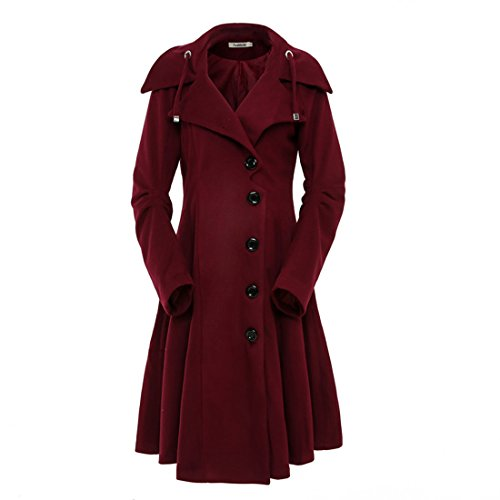 ForeMode Women's Jacket with Button Closure Asymmetrical Hem Long Trench Wool Coat(Tawny Port,L)