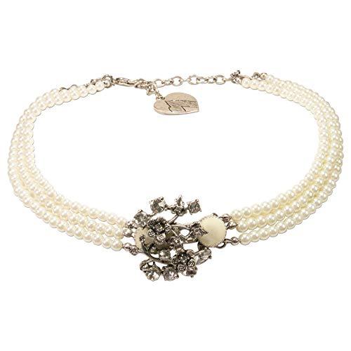 Alpenflüstern Trachten-Perlen-Kropfkette Theresa - nostalgische Trachtenkette, eleganter Damen-Trachtenschmuck, Dirndlkette Creme-weiß DHK229