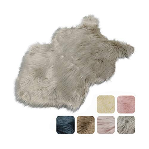 Furryvalley Alfombra ecológica de piel de cordero sintética de imitación de piel de cordero para cama, sofá, salón, dormitorio, habitación de los niños (gris – 60 x 80 cm)