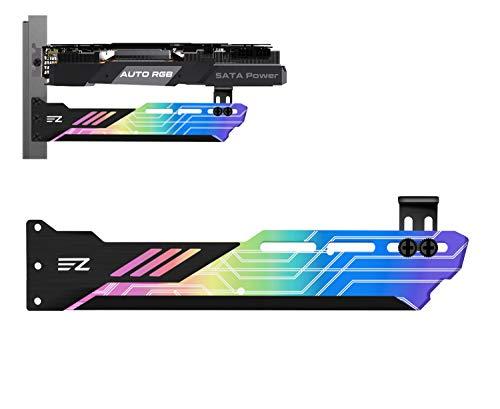 EZDIY-FAB Regenbogen GPU Halter mit automatischen RGB Effekten, Unterstützung für Grafikkartenhalterung, Grafikkartenhalter, Grafikkarten-Durchhang