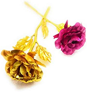 CIYA Plus Valentines Day, Friendship's Day Special Pink and Golden Rose for Girlfriend/Boyfriend-