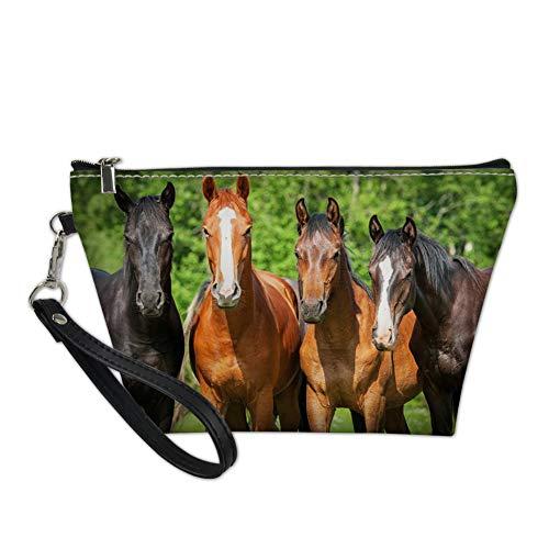 Showudesigns Makeup Bag Organizer Small Top Zip Purse Storage Bag Kids Girls Horse Cosmetic Travel Kit Pouch Zipper Teenager Pencil Case Holder