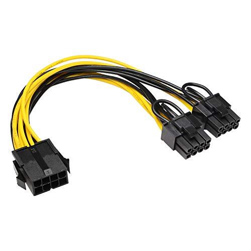CPU 8-polig auf Dual 8-polig PCIe Adapter Stromkabel (CPU auf GPU) CPU 8-polig Buchse auf Dual PCIe 2X 8 Pin (6+2) Stecker Power Adapter Verlängerungskabel für Grafikkarte -2 Stück - 21 cm