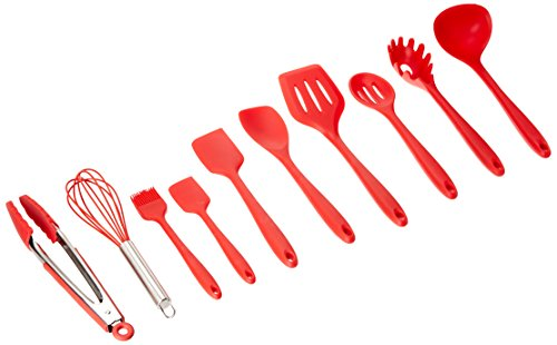10 Piece Red Kitchen Utensil Set - Basting Brush, Slotted Spoon, Whisk, Tongs, 2 Spatulas, Slotted Turner, Pasta Fork, Spoonula and Ladle