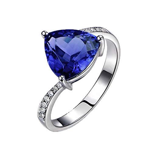 Dreamdge Women Anniversary Ring 18K White Gold Triangle Ring, Blue Tanzanite Diamond Ring 1.2ct Size M½