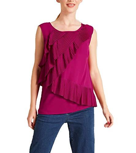 Heine Shirt Bluse ärmelloses Damen Blusen-Top mit Plissee-Volants Freizeit-Bluse Freizeit-Shirt Pink, Größe:38